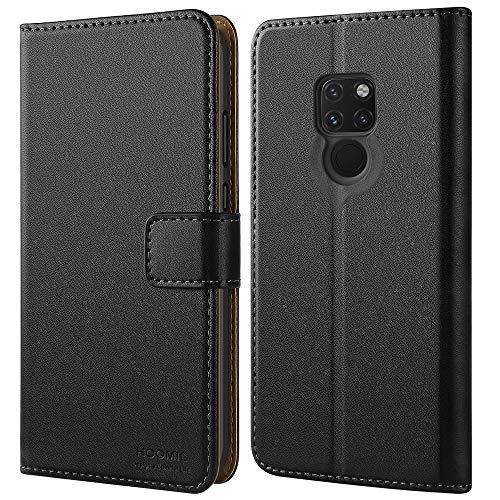 HOOMIL Handyhülle für Huawei Mate 20 Hülle, Premium Leder Tasche Flip Schutzhülle für Huawei Mate 20 Smartphone, Schwarz