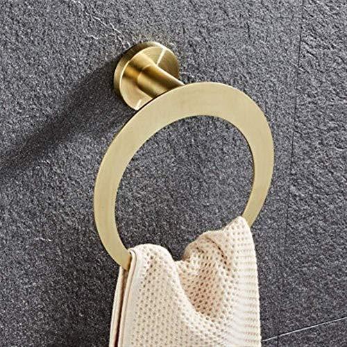 ABWYB Accesorios de baño Soporte de Papel, Estante de Esquina, Toallero, Soporte de Cepillo de Inodoro Juego de Accesorios de baño de Acero Inoxidable en Oro Cepillado (Color: Toallero B Gold)