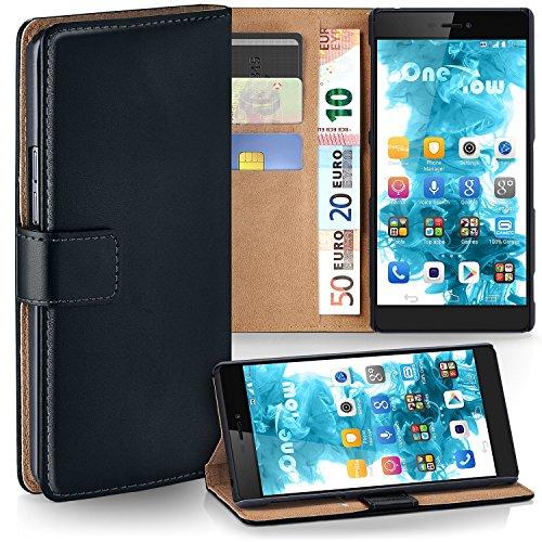 MoEx Premium Book-Case Handytasche kompatibel mit Huawei P8 | Handyhülle mit Kartenfach und Ständer - 360 Grad Schutz Handy Tasche, Schwarz