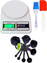 Bulfyss Popular Combo - Electronic Kitchen Digital Weighing Scale 10 Kg, 8Pcs Black Measuring Cups and Spoons Set, Silicone Series Spatula and Brush Set