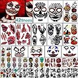 Kaieteur 42 Hojas de Tatuaje de cara de Halloween, Tatuaje Adhesivo Calavera Colección de Calabaza Tatuaje Temporal Impermeable para Adultos y Niños