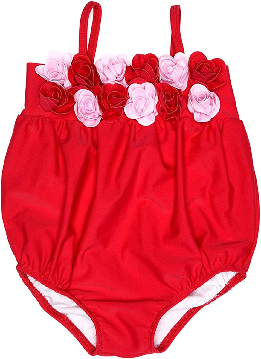 Kate Mack 540 Red Heart's Desire Bubble Swimsuit w/ 3D Rosettes