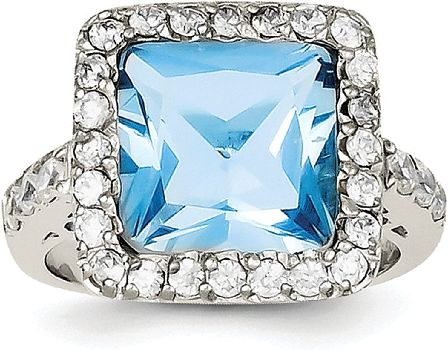 Beautiful Sterling silver 925 sterling Sterling Silver bluee CZ Ring