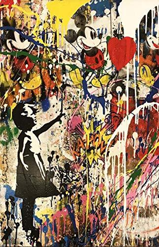 Kits de regalo de pintura al óleo DIY Chica preimpresa sosteniendo un globo Graffiti Art Prints Arte moderno de la calle Pinturas sobre lienzo en la pared Fotos Decoración infantil-60x90cm_no_fra