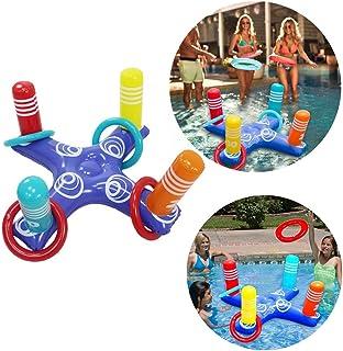 Fossenlea Anillo Inflable Juego de Piscina de Lanzamiento de Juguetes Anillo de Piscina Flotante con 4 Piezas de Anillos Juguetes de Agua para Niños para Piscina Adultos