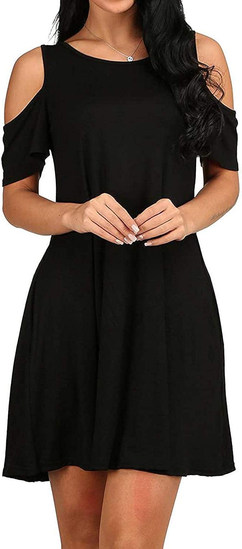 SHENBOLEN Women's Cold Shoulder Dress Tunic T-Shirt Loose Dress Short Sleeve Casual Dress with Pockets