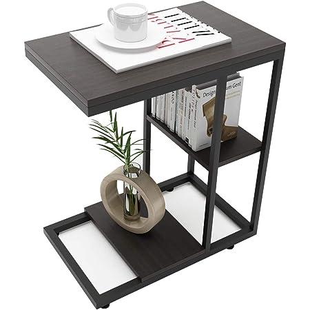 ZXD サイドテーブル コの字型デザイン ベッド リビングサイドテーブル ソファサイドテーブル おりたたみサイドテーブル 幅45×奥行30×高さ55cm ブラック