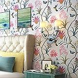 like shop - Papel pintado para pared, diseño de pájaros florales frescos clásico, 0,5 m de ancho x 10 m de largo, papel pintado ecológico para sala de estar, recámara