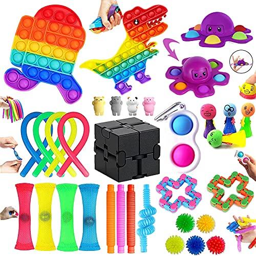 Fidget Toys, 33 Piezas Juguetes Antiestres puede Aliviar Eficazmente el Estrés del Estudio y el Trabajo, Fidget Toy Pack es Adecuado como Regalos para Niños, Juguetes Niños