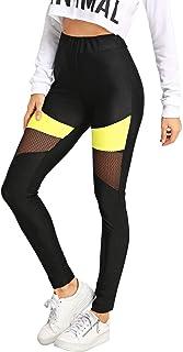 699fe8cdf1afe SweatyRocks Women's Stretchy Skinny Sheer Mesh Insert Workout Leggings Yoga  Tights