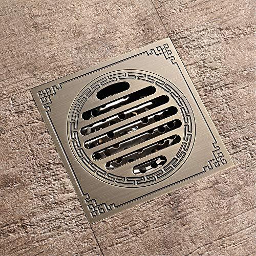 HXYL Badezimmer-Bodenablauf, Badezimmer-rechteckiger Ablaufdeckel Deodorant, Duschboden-Fliesen-Abfluss, Kupfer (100 mm x 100 mm)