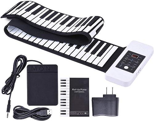 GxNImer 61 Tasten Rollen Oben Klavier, bewegliches Silikon-Tastatur-Klavier-faltbares digitales elektronisches nachladbares Klavier