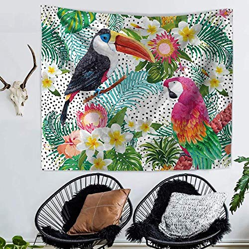JJJee Planta Tropical Parrot Imprimir Home Tapicería Tarjeta de Playa Toalla de Playa