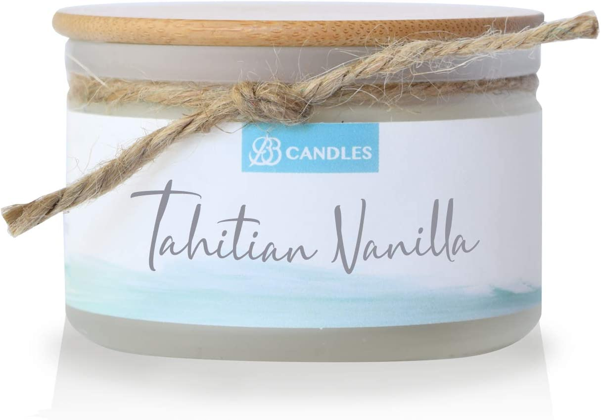 BB Candles Coastal Essentials Natural Soy Hand Poured Candle, Tahitian Vanilla Scent, Fragrant Coastal Candle with Strong Scents, Artisan Candle, 4oz, 30+ Hours Burn Time