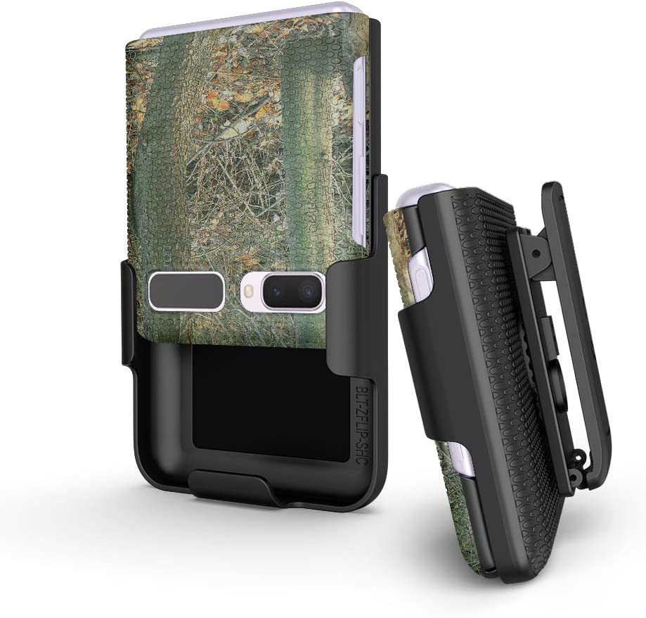 BELTRON Case with Clip for Galaxy Z Flip 2020, Snap-On Protective Cover with Rotating Belt Holster Combo and Built in Kickstand for Samsung Galaxy Z Flip (SM-F700, SM-F707) - Camouflage