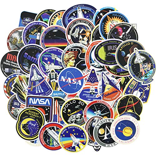 NASA Stickers Decals 45pcs Space Stickers Pack for Kids Laptop Water Bottle Helmet Bike Skateboard Vinyl