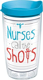 Tervis 1209827 Nurses Call The Shots Tumbler with Wrap and Turquoise Lid 16oz, Clear