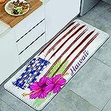 Blived Küchenteppiche,Rosa Hibiskusblumen der Hawaii-Flagge auf Grunge-USA-Flagge, Anti-Ermüdungs-Fußmatte rutschfeste Mikrofaser-Stehmatte 47,2 x 17,7 Zoll