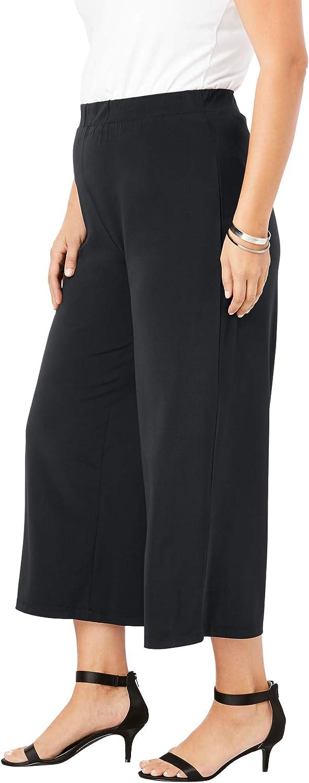 Roamans Women's Plus Size Ultrasmooth Fabric Wide-Leg Crop Pant
