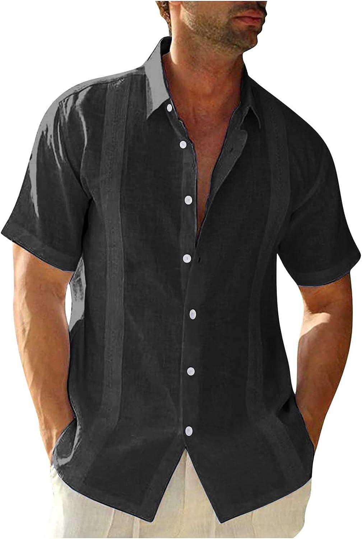 FUNEY Mens Button Down Short Sleeve Linen Shirts Hippie Beach Collar Shirts with Embroidery Edge,Cuban Camp Guayabera Shirt
