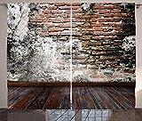 ABAKUHAUS Rústico Cortinas, Desgastada Pared de la Foto, Sala de Estar Dormitorio Cortinas Ventana Set de Dos Paños, 280 x 245 cm, Canela Negro Blanco