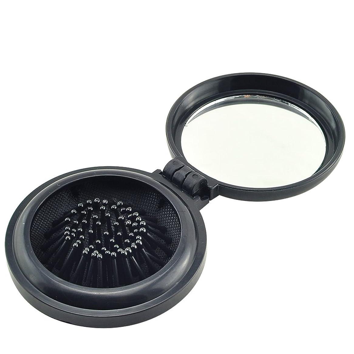 否認するジャンクション推進力ixaer 折りたたみ ヘアブラシ 鏡付き 円形 櫛 コンパクト 携帯便利 通勤 通学 旅行に最適 ブラック