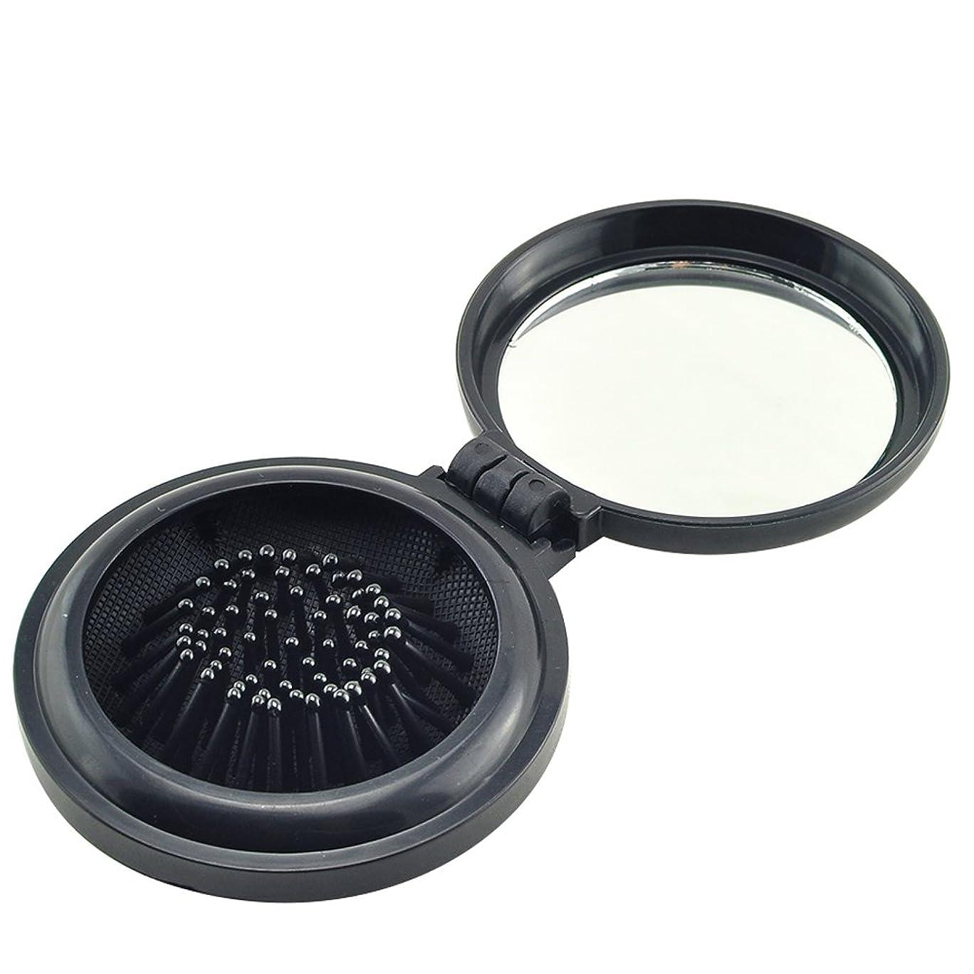 悩みアニメーション懐疑的ixaer 折りたたみ ヘアブラシ 鏡付き 円形 櫛 コンパクト 携帯便利 通勤 通学 旅行に最適 ブラック
