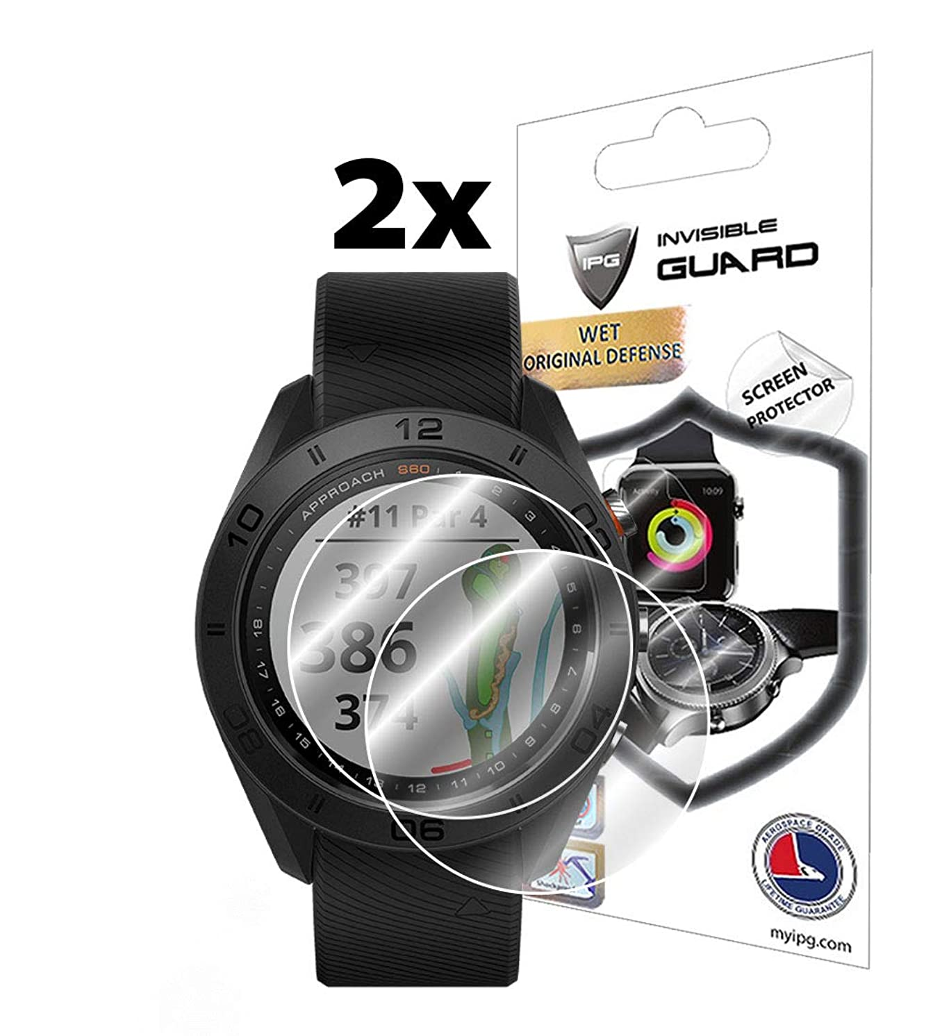 IPG for Garmin Approach S60 Golf GPS Watch Screen Protector (2 Units) Invisible Ultra HD Clear Film Anti Scratch Skin Guard - Smooth/Self-Healing/Bubble -Free by