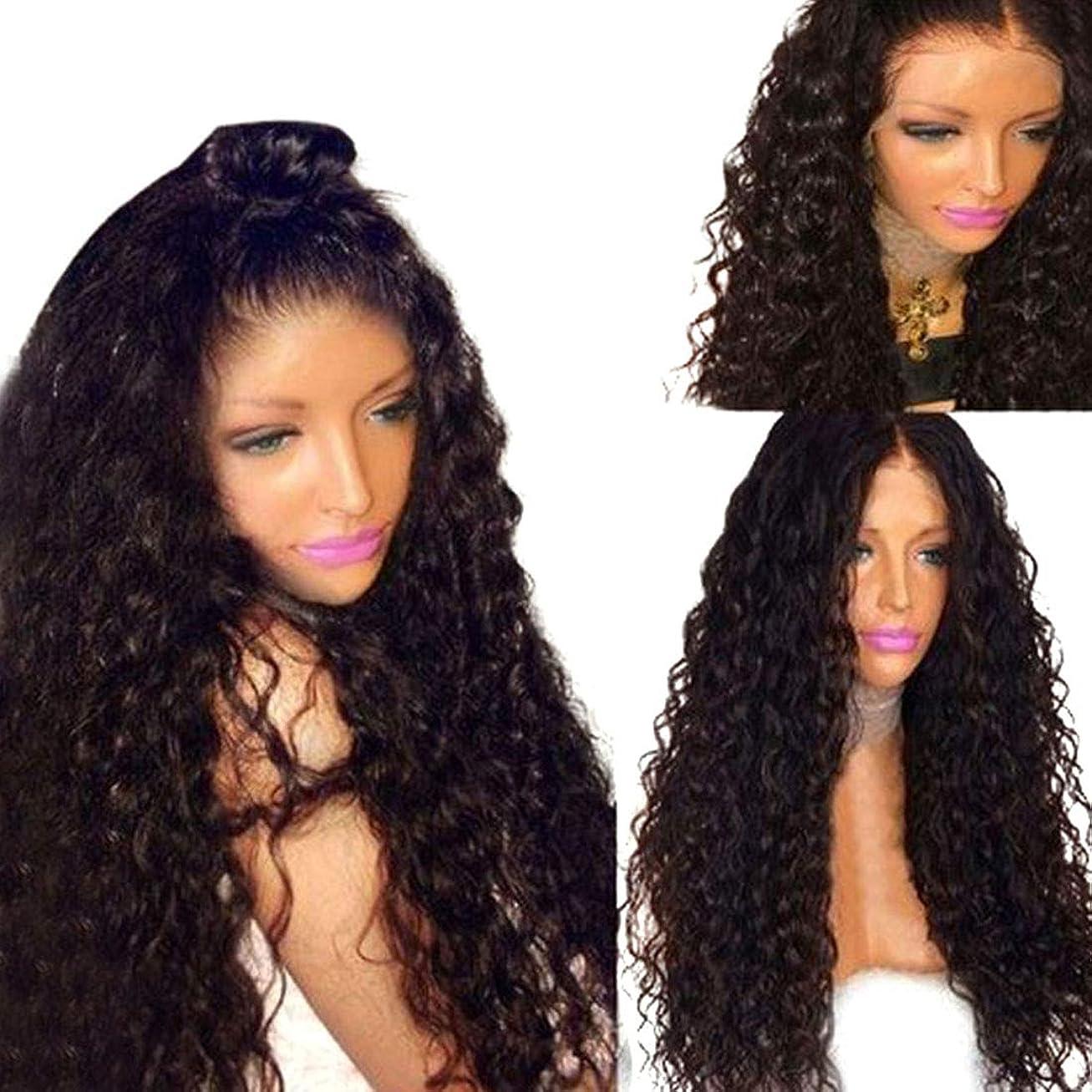 しっかりウェイド尾Yrattary ヨーロッパとアメリカの黒アフリカ小容量化学繊維かつら女性の半分手のフックフロントレースかつら合成毛髪のかつらロールプレイングかつら (色 : Photo Color, サイズ : 16 inches)