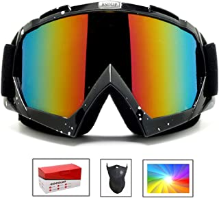 Feier Yusi Adult Professional Ski Goggles Snowmobile Snowboard Skate Snow Skiing Goggles with 100% UV400 Protection Bright Lens TPC Frame Material Anti Sand Wind & UV Suitable Hiking Surfing Skiing
