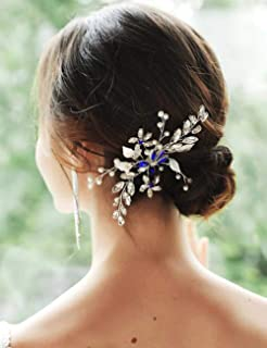 YERTTER Wedding Hair Comb Blue Rhinestone Bridal Hair Accessories for Bride and Bridesmaids Wedding Hair Piece for Bride a...