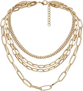 Yellow Chimes Gold Plated Base Metal Multilayered Chain Choker Necklace for Women
