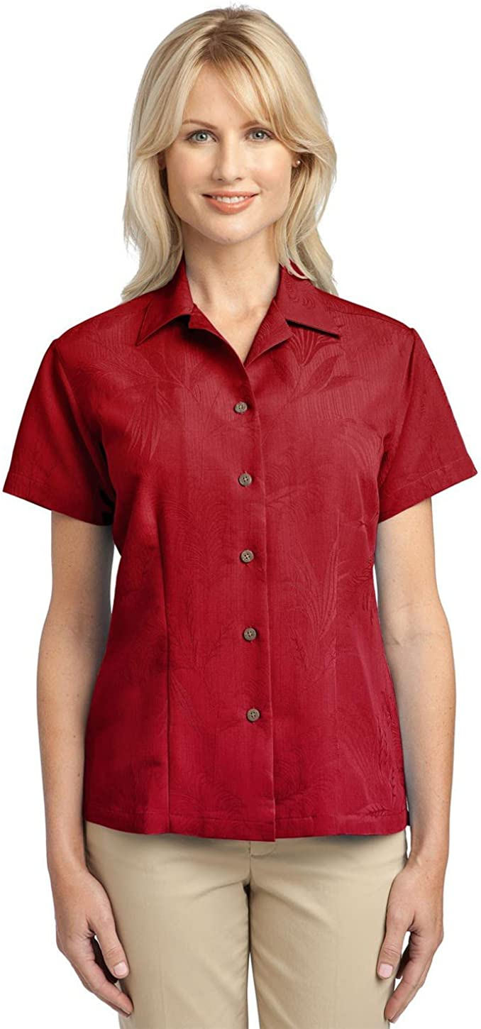 Port Authority L536 Ladies Patterned Easy Care Camp Shirt - Persian Red - X-Large