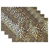WowPrint - Set di 4 tovagliette con stampa leopardata e tigre, resistenti al calore, facili da pulire, personalizzabili per cucina, sala da pranzo