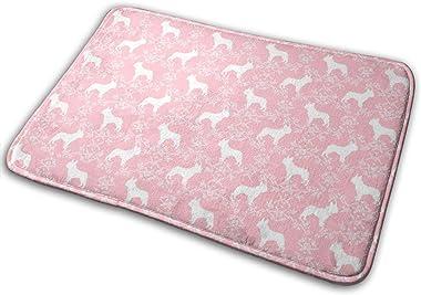 French Bulldog Florals Silhouette Frenchie Dog Pink_17474 Doormat Entrance Mat Floor Mat Rug Indoor/Outdoor/Front Door/Bathro