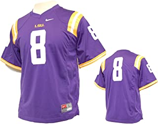 LSU Tigers Number 8 Youth Replica Football Jersey - Purple,