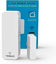 سنسور درب WiFi ، سنسور تماس پنجره هوشمند TESSAN سازگار با آمازون الکسا ، دستیار Google ، بدون نیاز به هاب ، ارسال هشدارها ، هشدار از راه دور بی سیم ، قابل برنامه ریزی با دستگاه های زندگی هوشمند
