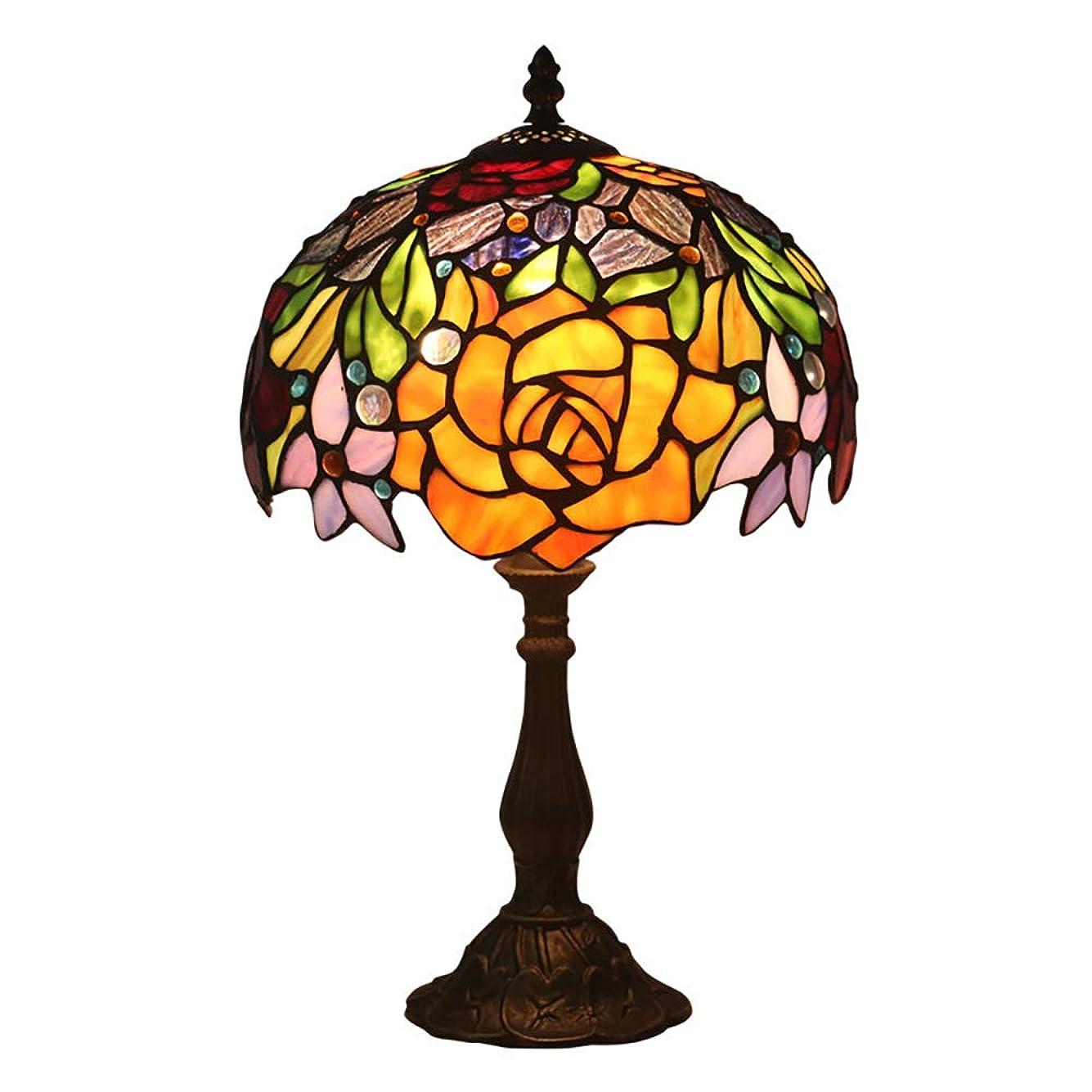 手段ロマンスわかるティファニースタイル色とりどりのガラス黄色いバラ柄シェード寝室暖かいロマンチックなテーブルランプ用リビングルームベッドルームダイニングルームバスルーム10 ''