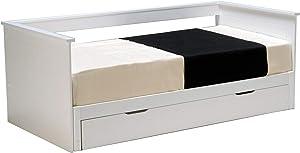 Weber Industries 20909 Mona Lit avec 2 Sommiers Laqué, Blanc, 196,5 x 100 x 77,5 CM