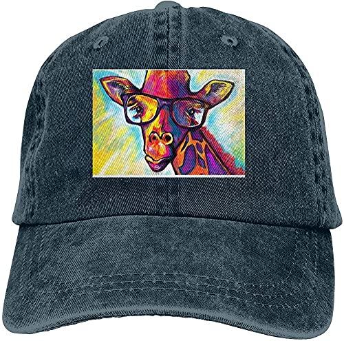 XTTGGD Jirafa con Gafas Sombrero de Vaquero Gorra de béisbol Retro Lavable Ajustable de algodón Negro_YBL0136