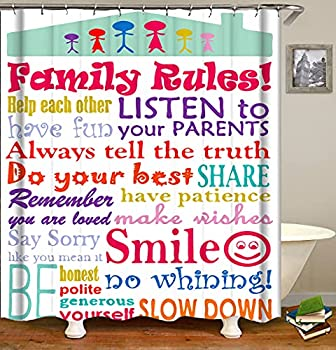 Raymall Family Rules Shower Curtain Child Educational Word Cloud 72x72 Inch Polyester Fabric with Hooks for Boys Kids Bathroom Decor
