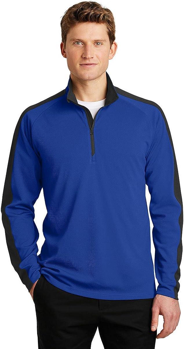 Sport-Tek Sport-Wick Textured Colorblock 1/4-Zip Pullover-ST861-XL