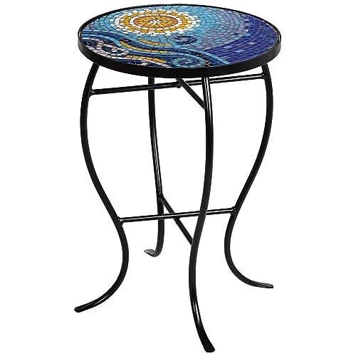 Ocean Mosaic Black Iron Outdoor Accent Table - Tile Patio Table: Amazon.com