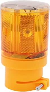 Aolyty LED Solar Strobe Warning Light Flashing Construction Safety Road Barricade Traffic Automatic Vehicle Signal Beacon Lamp Waterproof Automatically Turn on (Yellow)