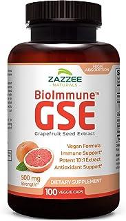 Zazzee BioImmune™ Grapefruit Seed Extract 500 mg 100 Vegan Capsules, High Absorption, Potent Immune Support Blend, 10:1 Ex...