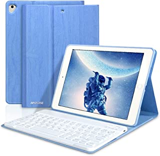 iPad Keyboard Case 9.7 for iPad New 2018 6th Gen/iPad Pro 2017 5th Gen/iPad Air 2 & 1- Slim Auto Sleep/Wake, Detachable Wireless Bluetooth Keyboard (Sky Blue)