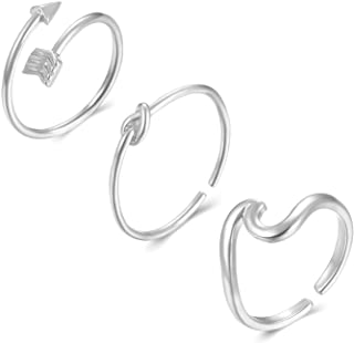 Long tiantian 3 Pcs Simple Adjustable Rings Set for Women,Love Knot Arrow Wave Ring Sets for Teen Girls Size 6-9