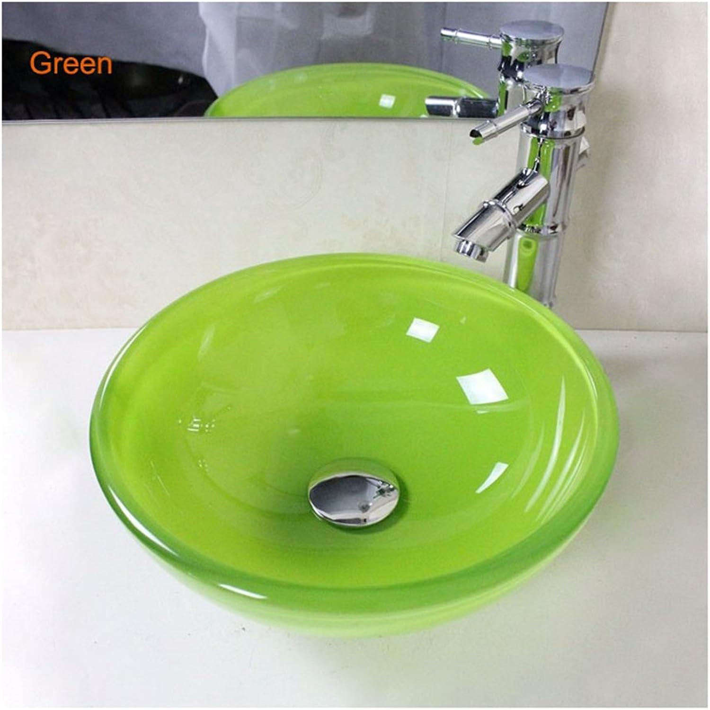Homelavafans Modern Rund Gehrtetes Glas Waschbecken Farbe Blau Grün Gelb Orange Rot (Grün)