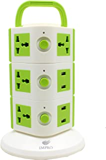 Impro Green Colour 10 Socket + 4 USB Ports Spike Buster Surge Protector / 3 Floor Vertical / 10A Plugs / 2500W Rated Power/Copper Core Cable/ABS Material / 1.6 Meter Cord Length