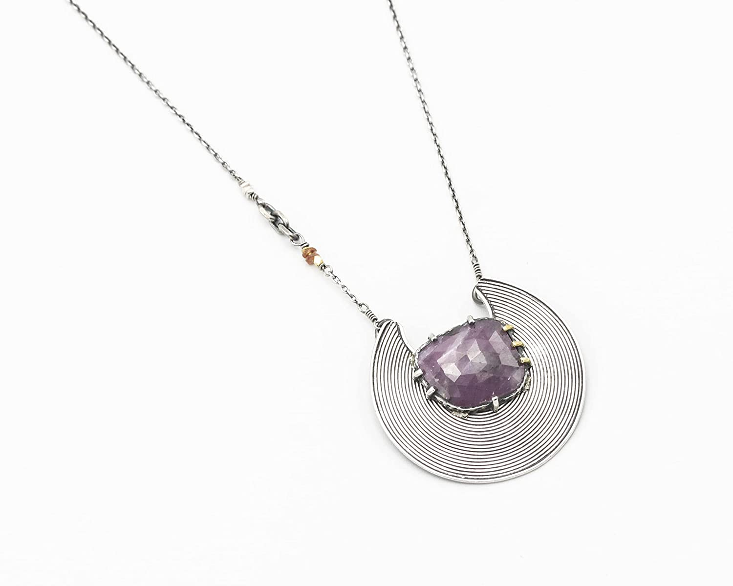 Crescent 40% OFF Cheap Sale moon New product necklace with oval ruby and silver in prongs bezel
